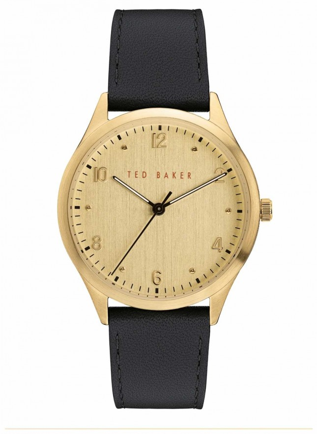 Ted Baker | Men's | Manhatt | Black Leather Strap | Gold Dial | BKPMHF905