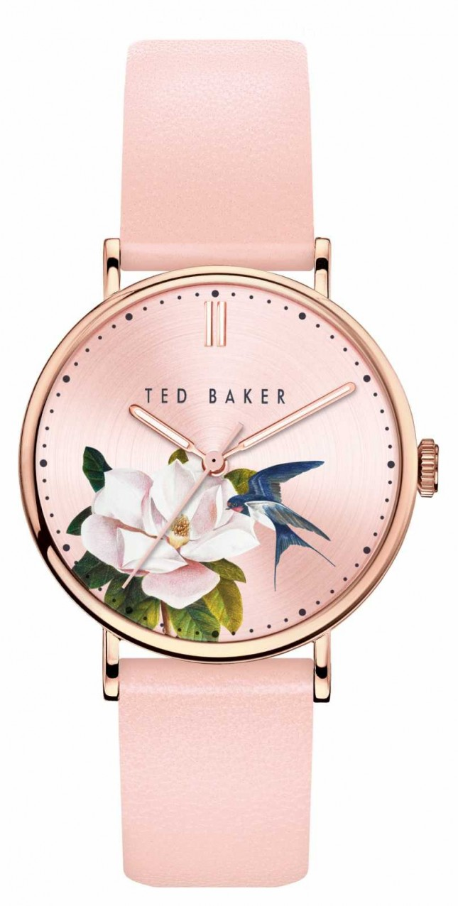 Ted Baker | Women's | Phylipa Flowers | Pink Leather Strap | Floral Dial | BKPPFF909