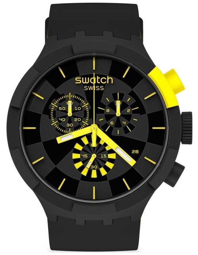 Swatch CHECKPOINT YELLOW | Big Bold Chrono | Black/Yellow Silicone Strap | Black Dial SB02B403