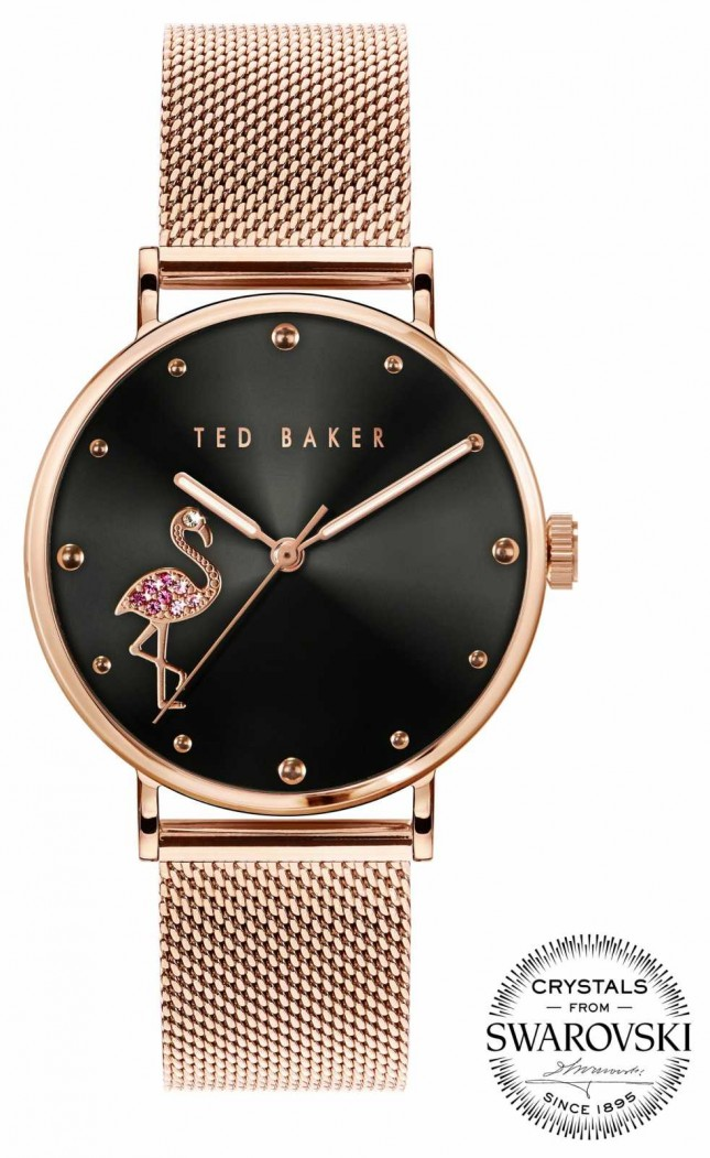 Ted Baker   Women's   Phylipa Flamingo   Rose Gold Mesh Bracelet   Black Dial   BKPPHF019