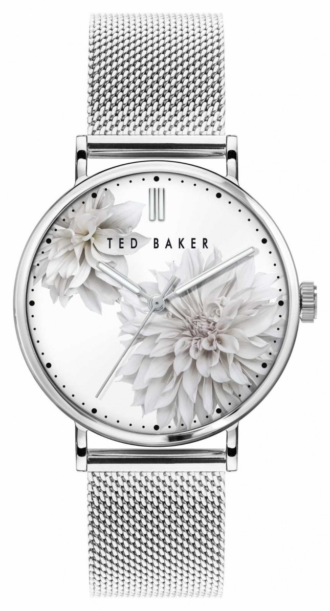 Ted Baker   Women's   Phylipa Peonia   Steel Mesh Bracelet   White Floral Dial   BKPPHF009