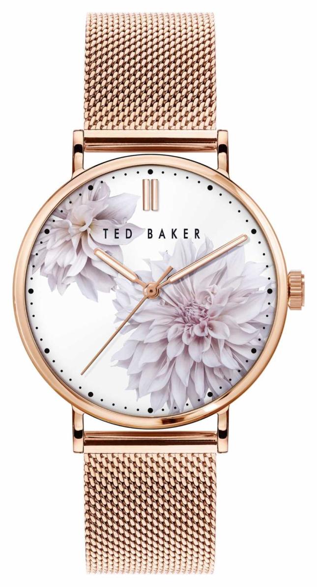 Ted Baker | Women's | Phylipa Peonia | Rose Gold Mesh Bracelet | White Floral Dial | BKPPHF010