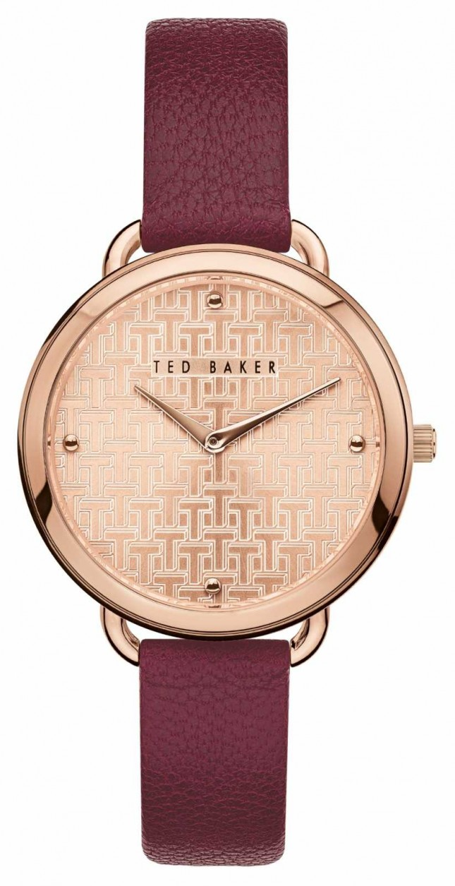 Ted Baker | Women's | Hettie | Burgundy Leather Strap | Rose Gold Dial | BKPHTF903