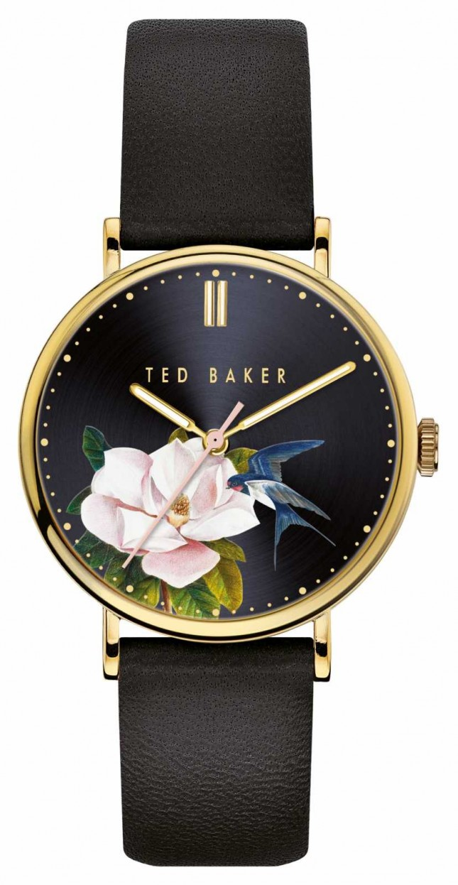 Ted Baker | Women's | Phylipa Flowers | Black Leather Strap | Black Dial | BKPPFF910