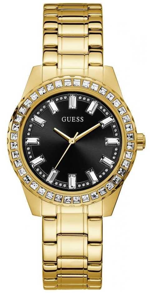 Guess Sparkler   Women's Gold Plated Bracelet   Black Sunray Dial GW0111L2
