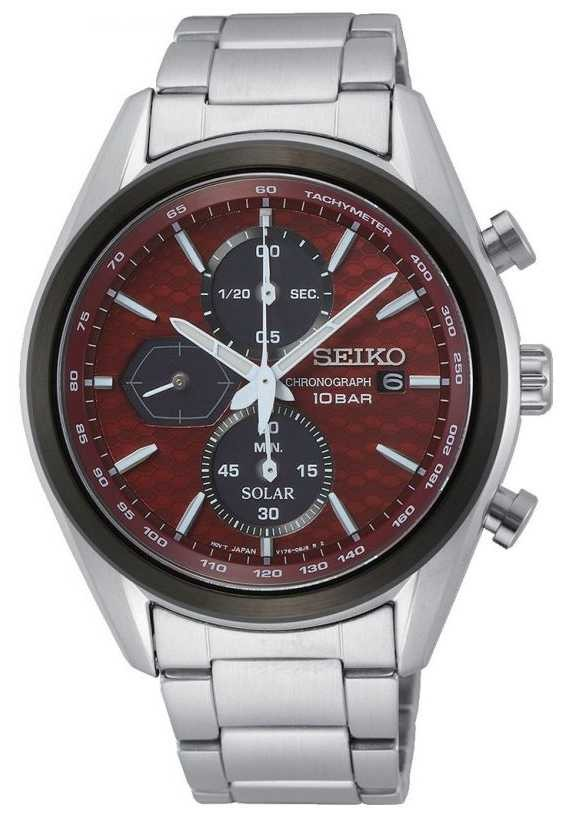 Seiko Men's Solar   Stainless Steel Bracelet   Red Chronograph Dial SSC771P1