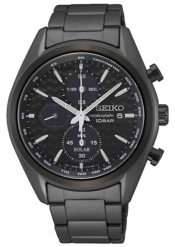 Seiko Men's Black Steel Bracelet | Black Chronograph Dial SSC773P1