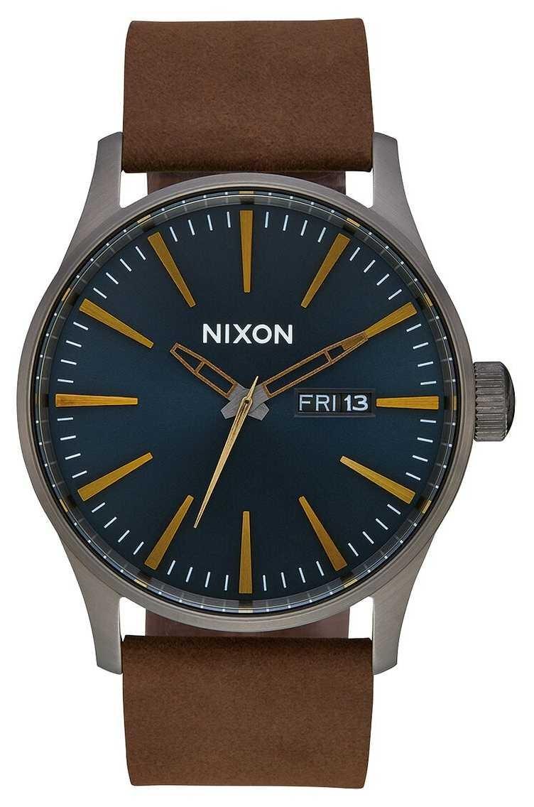 Nixon Sentry Leather | Gunmetal / Indigo / Brown | Brown Leather Strap | Indigo Dial A105-2984-00