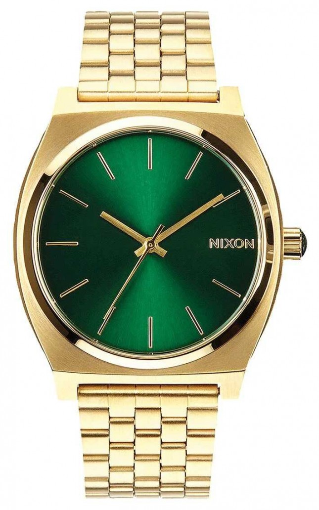 Nixon Time Teller | Gold / Green Sunray | Gold IP Steel Bracelet | Green Dial A045-1919-00