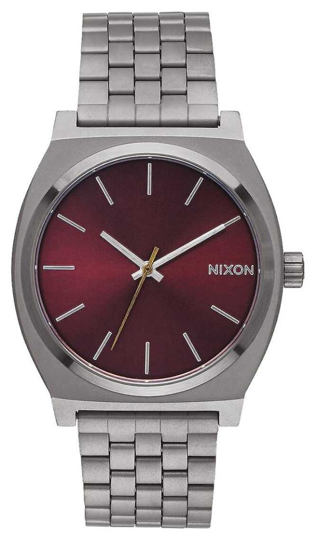 Nixon Time Teller | Gunmetal / Deep Burgundy | Gunmetal IP Bracelet | Burgundy Dial A045-2073-00