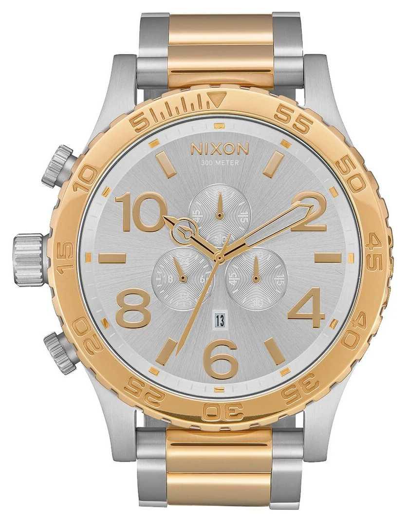 Nixon 51-30 Chrono   Silver / Gold   Two Tone Bracelet   Silver Dial A083-1921-00