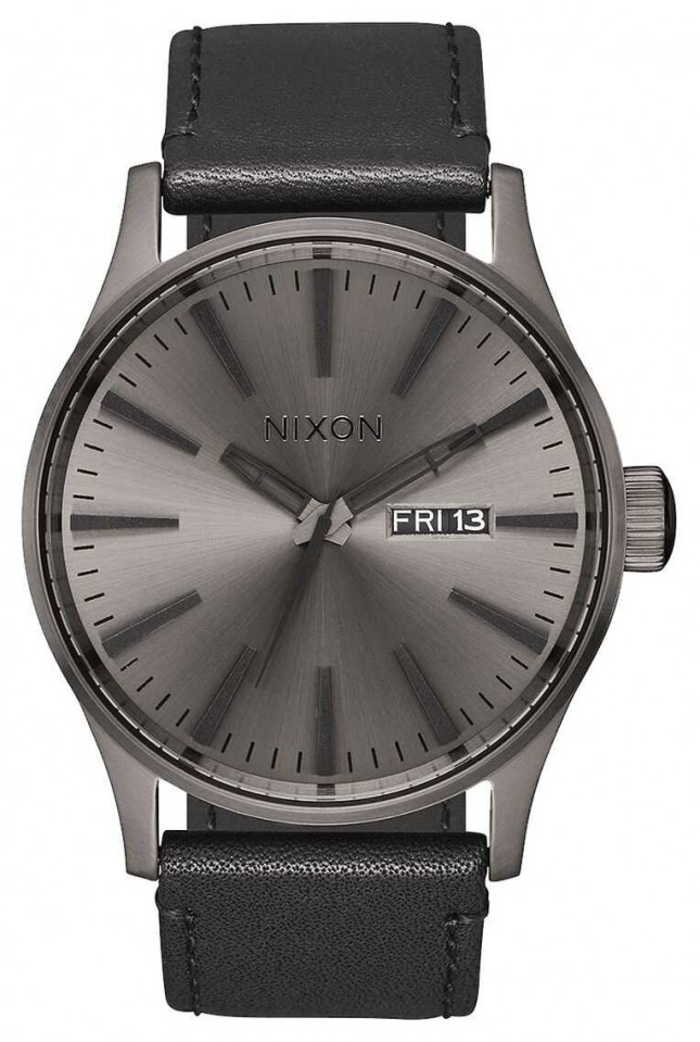 Nixon Sentry Leather | Gunmetal / Black | Black Leather Strap | Gunmetal Dial A105-1531-00