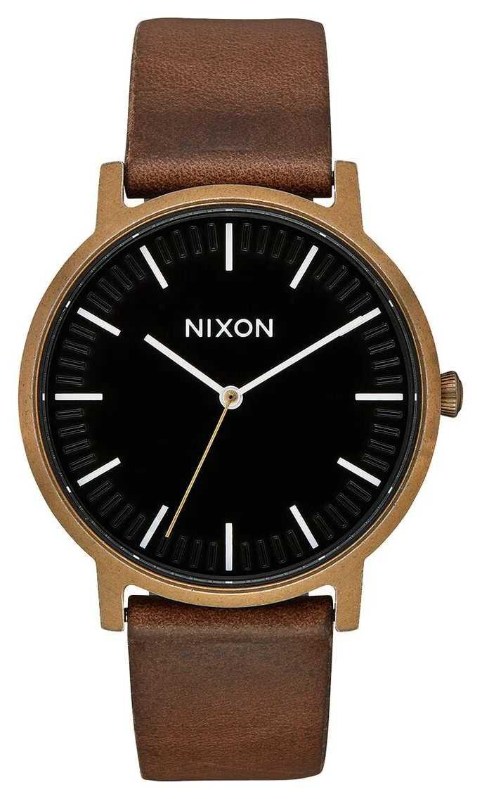 Nixon Porter Leather | Brass / Black / Brown | Brown Leather Strap | Black Dial A1058-3053-00