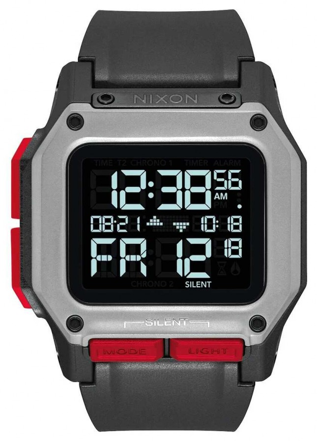 Nixon Regulus | Black / Red | Digital | Black TPU Strap A1180-008-00