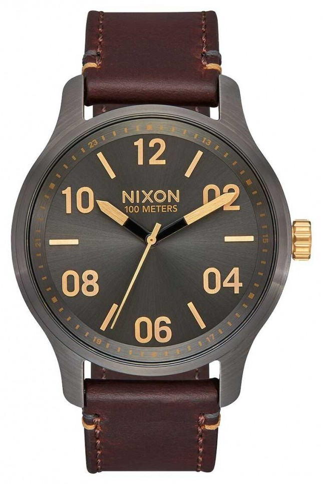 Nixon Patrol Leather | Gunmetal / Gold | Brown Leather Strap | Gunmetal Dial A1243-595-00