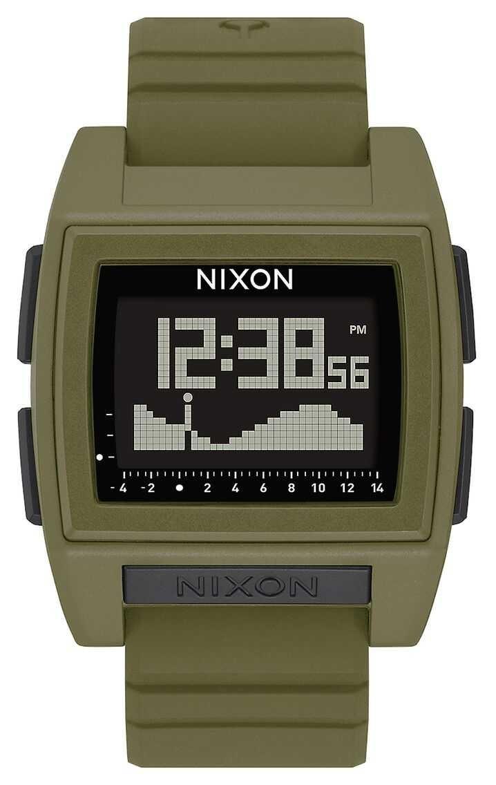 Nixon Base Tide Pro   Surplus   Digital   Green Silicone Strap A1307-1085-00