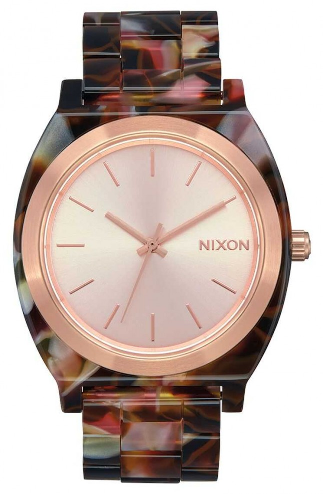 Nixon Time Teller Acetate | Rose Gold / Pink Tortoise | Rose Gold Dial A327-3233-00