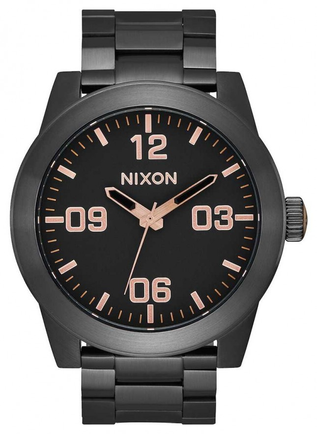 Nixon Corporal SS | All Black / Rose Gold | Black IP Steel Bracelet | Black Dial A346-957-00