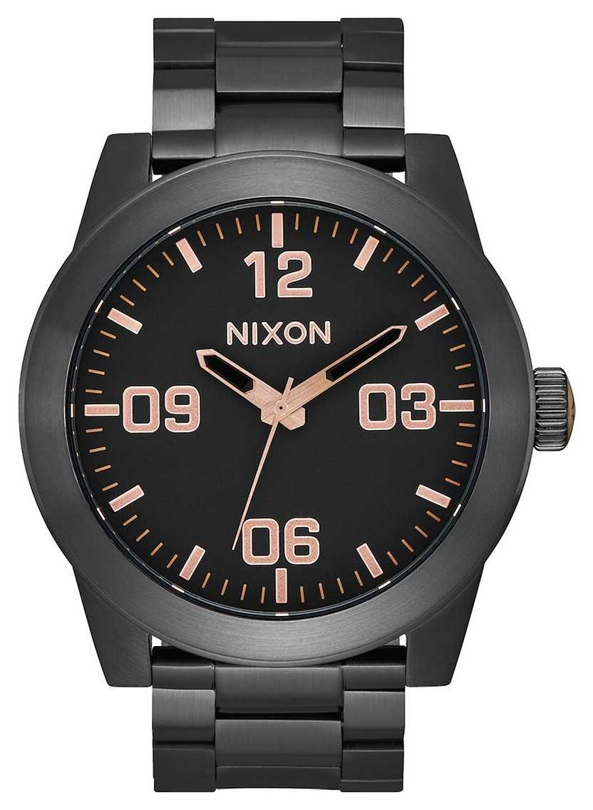Nixon Corporal SS   All Black / Rose Gold   Black IP Steel Bracelet   Black Dial A346-957-00