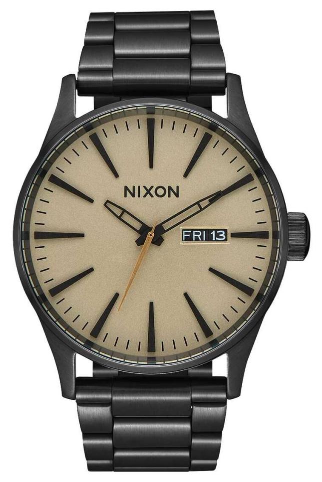 Nixon Sentry SS | Black / Khaki | Black IP Steel Bracelet | Khaki Dial A356-1439-00
