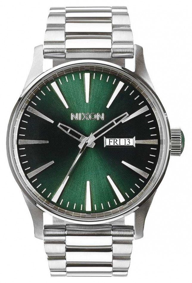 Nixon Sentry SS | Green Sunray | Stainless Steel Bracelet | Green Dial A356-1696-00