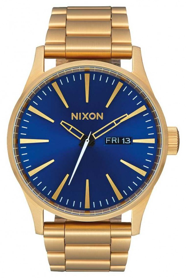 Nixon Sentry SS | All Gold / Blue Sunray | Gold IP Steel Bracelet | Blue Dial A356-2735-00