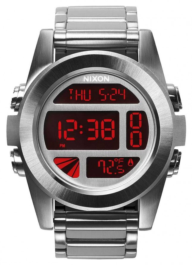 Nixon Unit SS | Silver / Red | Digital | Stainless Steel Bracelet A360-1263-00