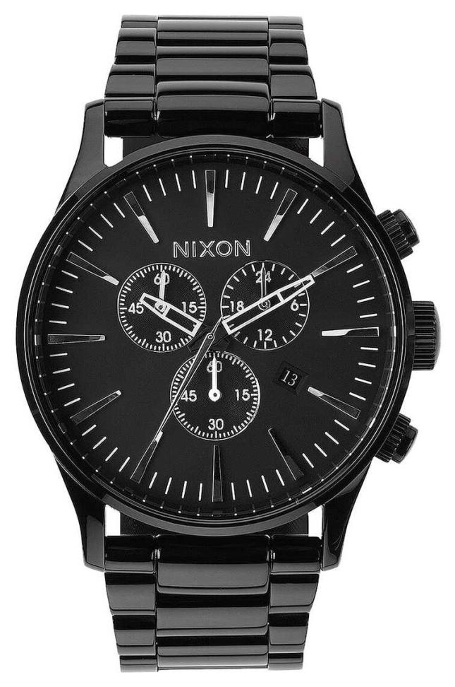 Nixon Sentry Chrono | All Black | Black IP Steel Bracelet | Black Dial A386-001-00