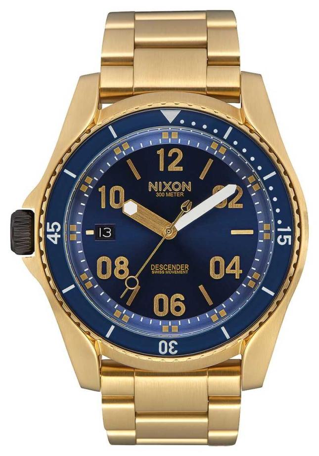 Nixon Descender | All Gold / Blue Sunray | Gold IP Steel Bracelet | Blue Dial A959-2735-00