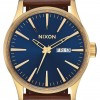 Nixon Sentry Leather | Polished Gold / Navy Sunray | Brown Leather Strap | Blue Dial A105-3320-00