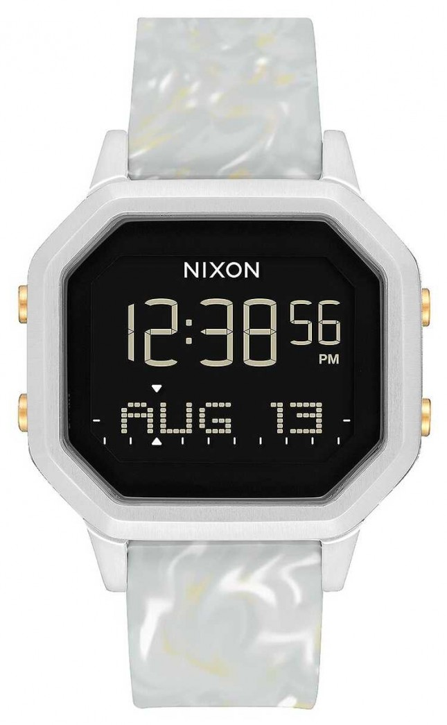 Nixon Siren SS | Silver / Grey Marble | Digital | Marble Coloured Silicone Strap A1211-3413-00