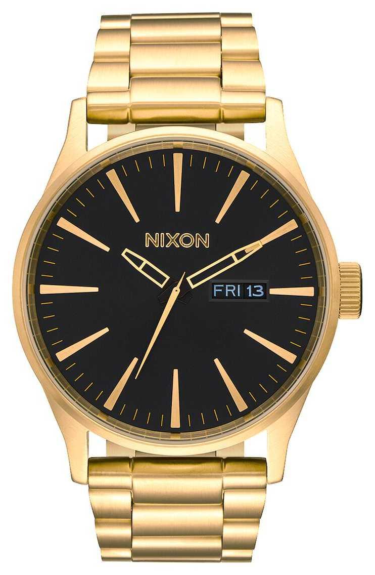 Nixon Sentry SS   All Gold / Black   Gold IP Steel Bracelet   Black Dial A356-510-00