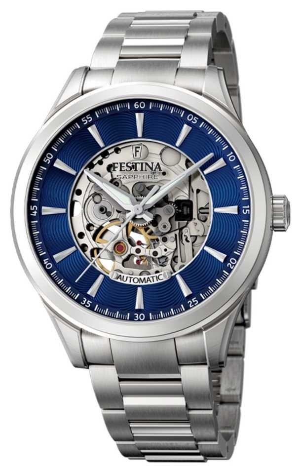 Festina Men's Automatic Skeleton | Steel Bracelet | Blue Dial F20536/3
