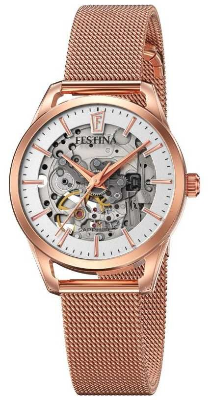 Festina Women's Automatic Skeleton | Rose Gold Mesh Bracelet F20539/1