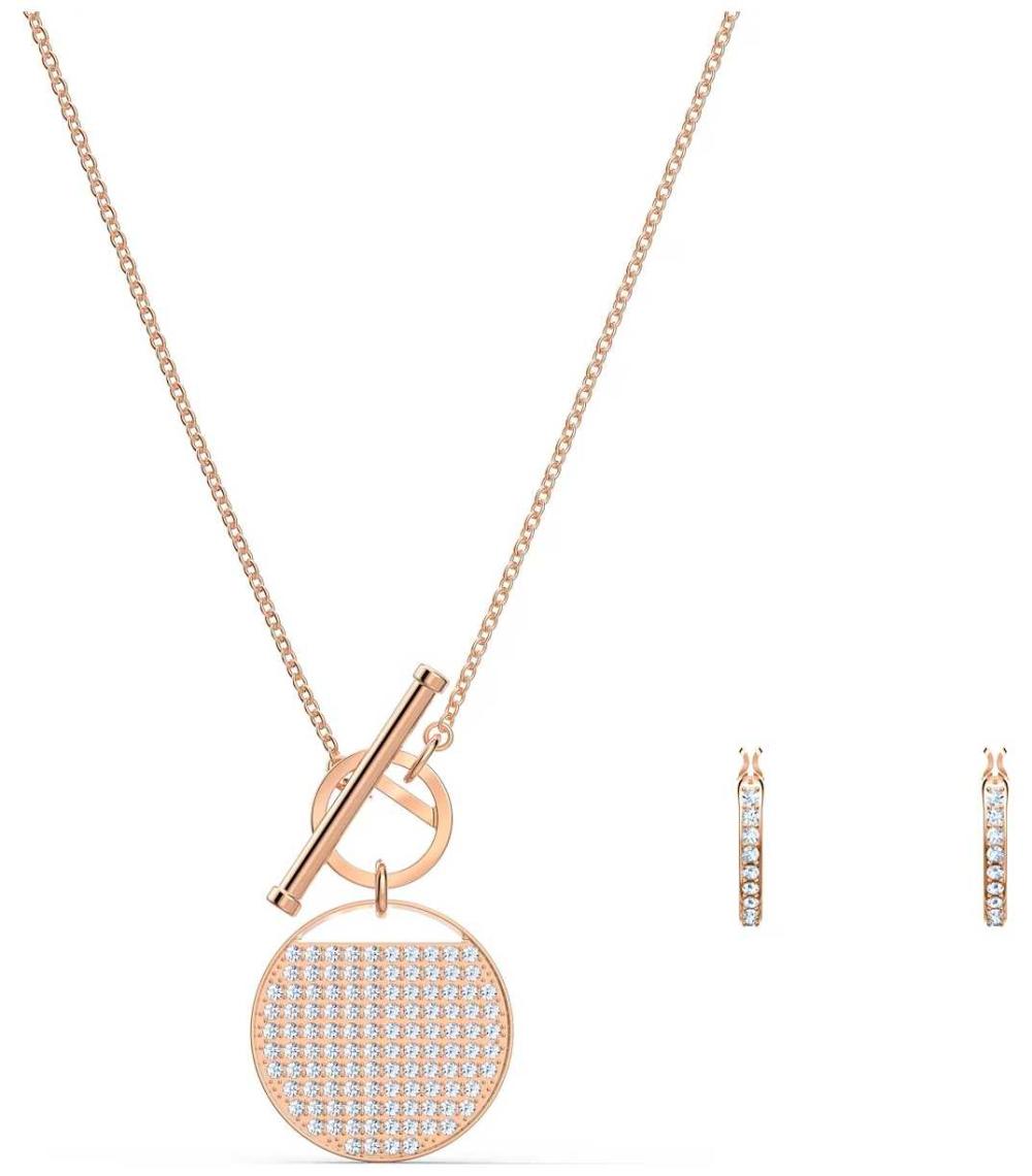 Swarovski Ginger   Rose Gold Plated   T-Bar Necklace And Earring Set 5574915