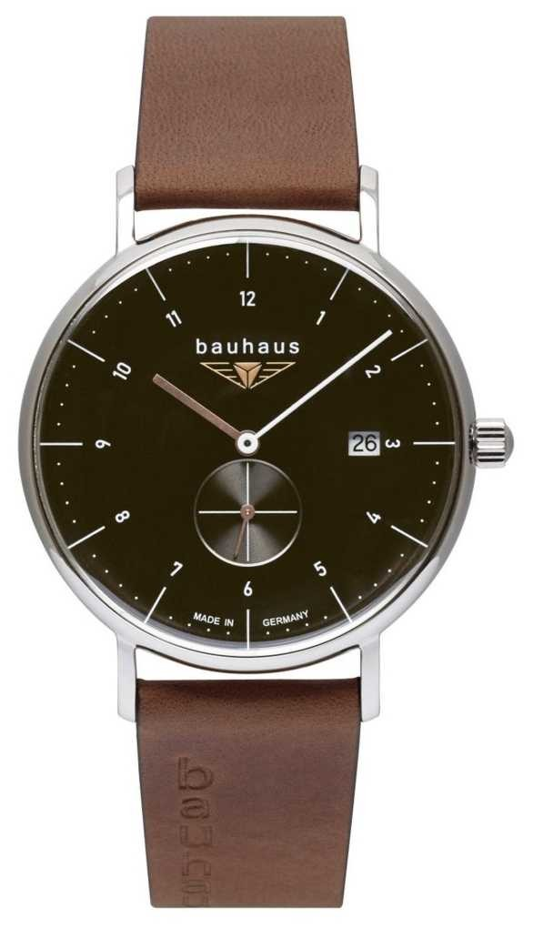 Bauhaus Men's Brown Italian Leather Strap | Black Dial 2132-2