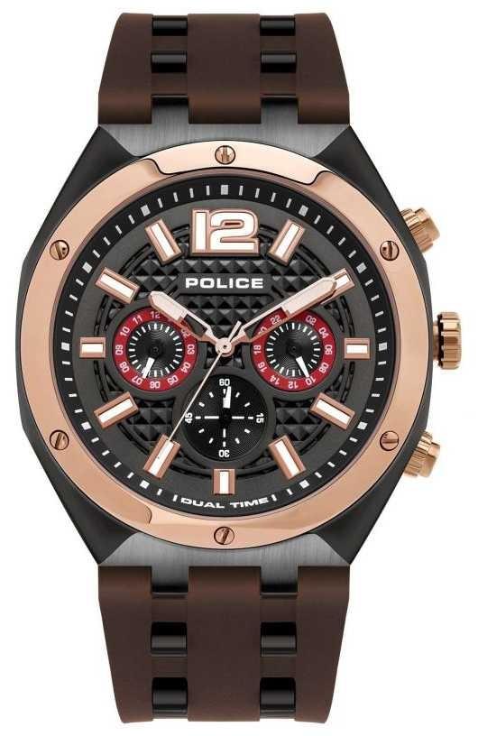 Police | Men's | Kediri Watch | Brown Rubber Strap | 15995JSBR/61P