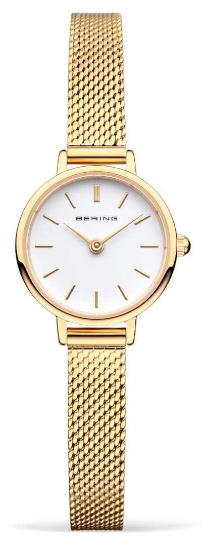 Bering Women's Gold Mesh Bracelet | White Dial 11022-334