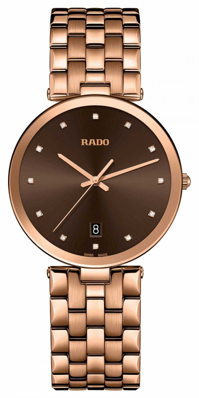 RADO Florence Diamonds Quartz Rose Gold PVD Plated Brown Dial R48893743