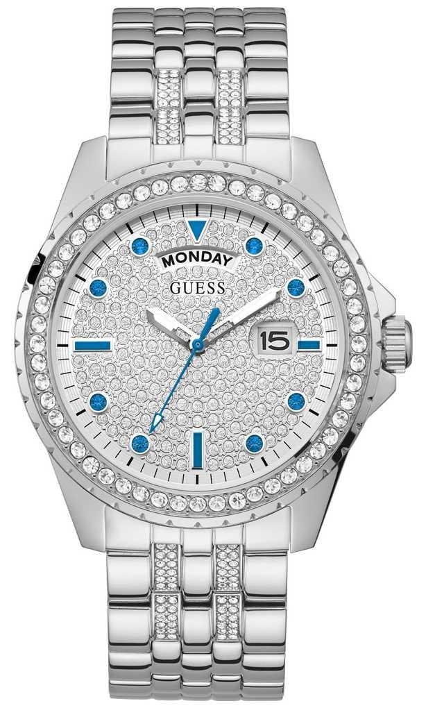 Guess Comet | Men's Stainless Steel Bracelet | Silver Dial | Crystal Set GW0218G1