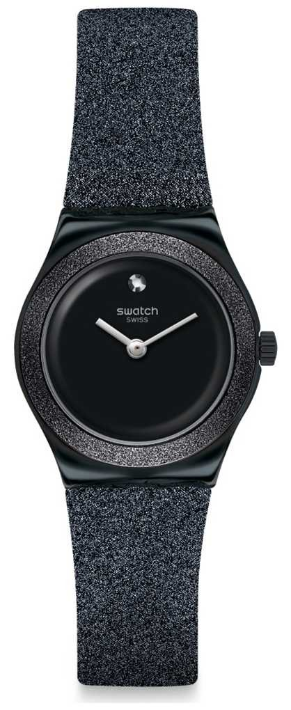 Swatch LOST MOON | Irony Lady | Black Glitter Silicone Strap | Black Dial YSB101