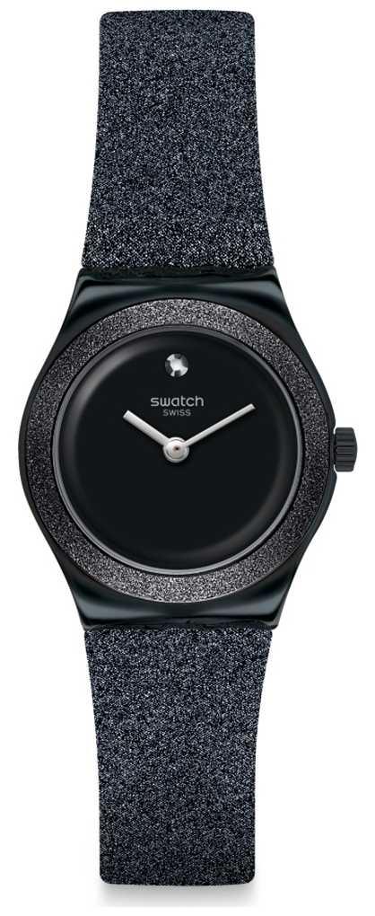 Swatch LOST MOON   Irony Lady   Black Glitter Silicone Strap   Black Dial YSB101