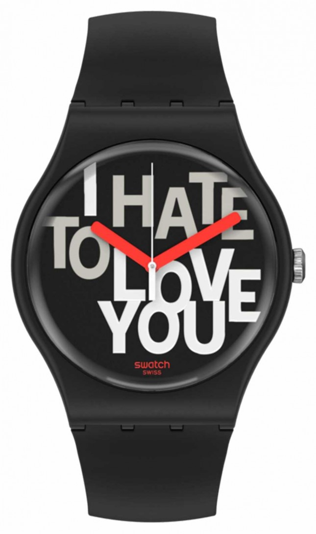 Swatch HATE 2 LOVE   Valentines Day   Black Silicone Strap   Black Dial SUOB185
