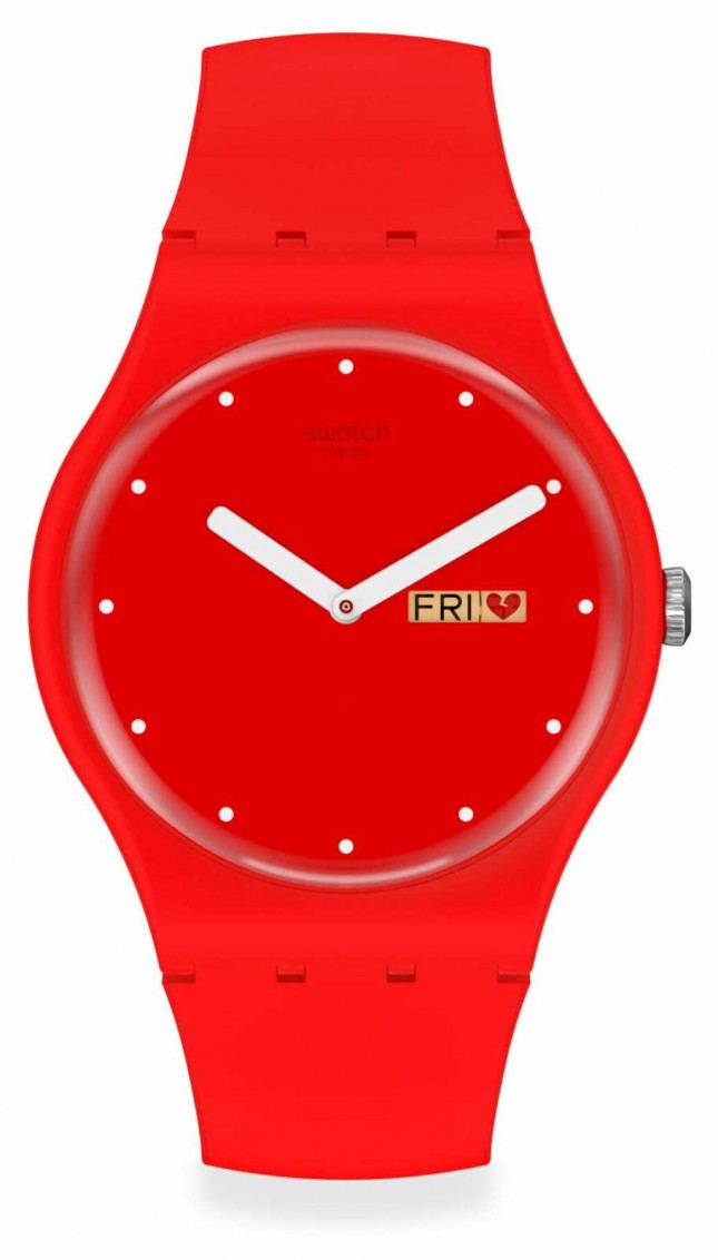 Swatch P(E/A)NSE-MOI | Valentines Day | Red Silicone Strap | Red Dial SUOZ718