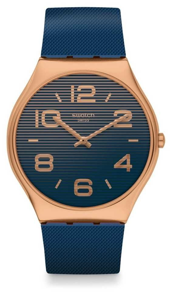 Swatch NIGHT TRICK   Blue Silicone Strap   Blue Dial SS07G101