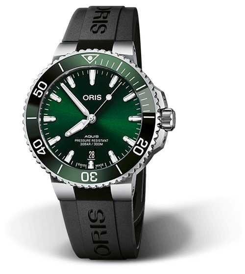 ORIS Aquis Date 41.5mm Green Dial Silicone Strap 01 733 7766 4157-07 4 22 64FC