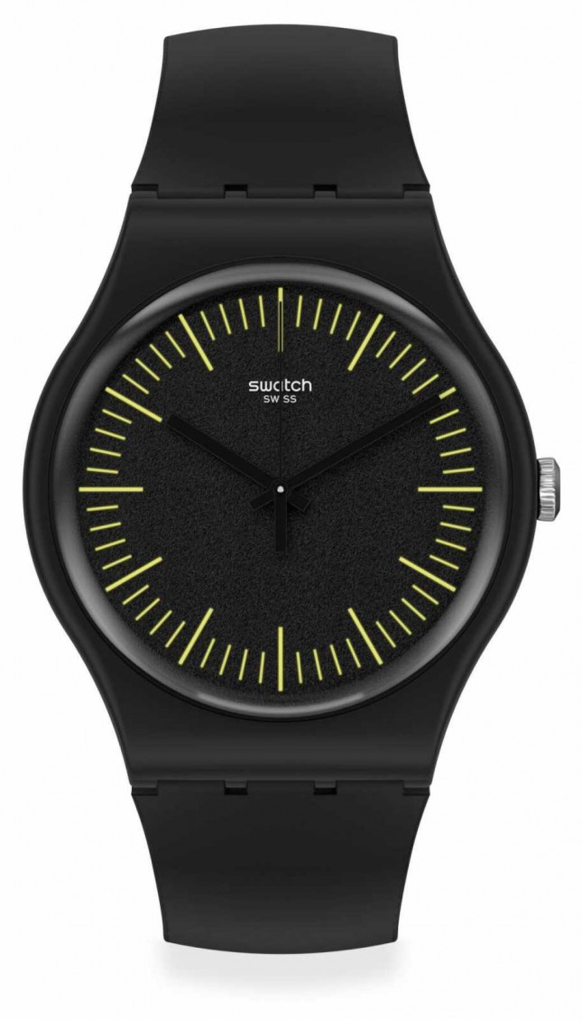 Swatch BLACKNYELLOW | Black & Yellow Silicone Strap | Black Dial | Yellow Markers SUOB184