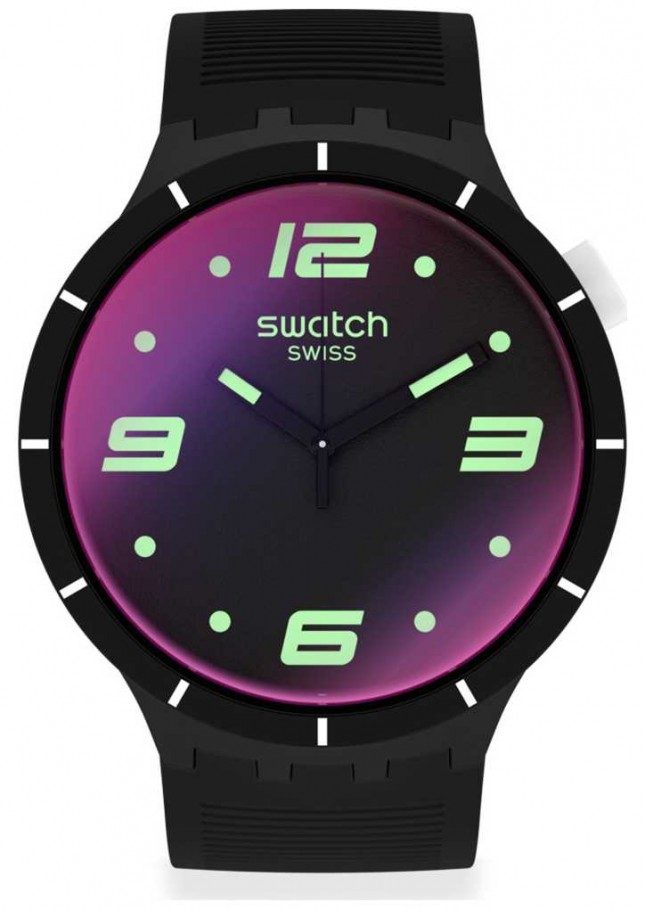 Swatch FUTURISTIC BLACK | Big Bold | Black Silicone Strap | Multicoloured Dial SO27B119