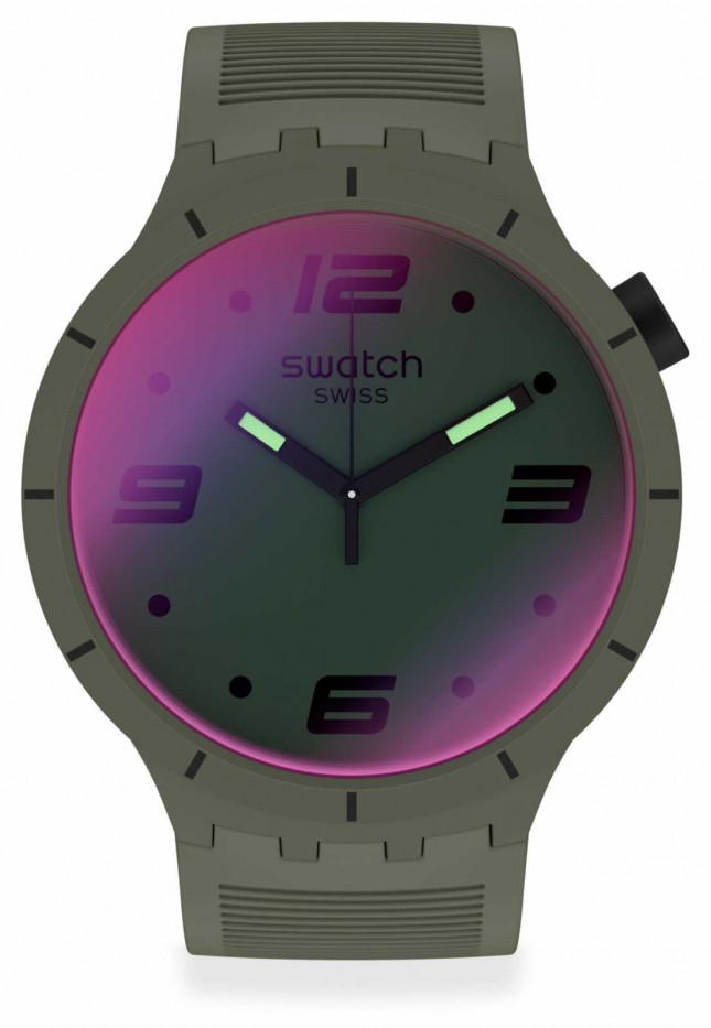 Swatch FUTURISTIC GREEN | Big Bold | Green Silicone Strap | Two-Tone Dial SO27M105