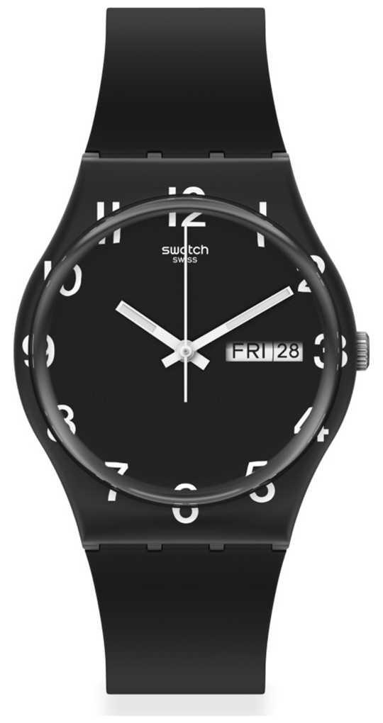 Swatch OVER BLACK | Black Silicone Strap | Black Dial GB757